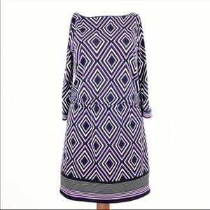 WHBM [S] Purple Diamond Drop Waist Dress